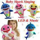 Baby Shark Plush Singing Toy LED&Music Doll English Song Toy For Kids Xmas Gifts