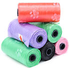 1-15 Rolls Large Strong Dog Poo Bags Eco Friendly Degradable Paw Printed Design
