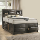 NEW SLEEK Modern Gray 8-Drawer Storage Queen King Platform Bed Furniture