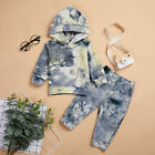 Newborn Baby Boys Girls Tie-dye Long Sleeves Clothes Hoodie Tops  Pants Outfits
