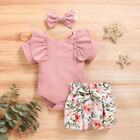 Newborn Baby Girl Summer Clothes Romper Tops Floral Shorts Headband Outfits Set