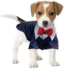 Dog Tuxedo Suit,Red Fashion Dress Dog Clothes for Wedding Party,Dog Checked Shir