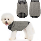 Warm Dog Sweater Winter Clothes - Plaid Patchwork Pet Doggy Knitted Sweaters Com