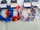 Patriotic Wired Garland Stars 25 Ft Red White Blue Silver Assorted Colors USA