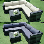6 Seater Rattan Garden Corner Sofa Table Chair Furniture Set Outdoor Lounge