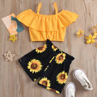 2PCS Toddler Kids Baby Girl Clothes Suspenders Tops Sunflower Shorts Outfits Set