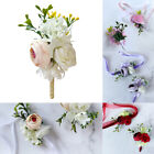 2Pcs Flower Wrist Corsage Boutonniere Set Wedding Party Bride Bridesmaid Supply