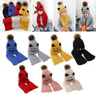 2pcs Baby Hat And Scarf Set Knitted Winter Warm Pom Hats Boys Girls 2-9 Years