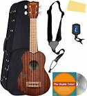 Kala KA-15S-BLK Satin Mahogany Soprano Ukulele - Black Bundle with Gig Bag, Tune