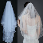 Beading Sequins Wedding Veils Short With Comb Elbow Length Two Layer Bridal Veil