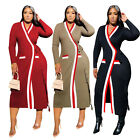 Fashion New Women's Stripe Patchwork Long Sleeves Belted Casual Coat Outerwear