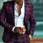 Men Formal Slim Fit Checkered Plaid Suits Fashion Style Party Prom Dinner Suits
