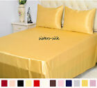 4 pcs 19MM Seamless 100% Silk Flat Sheet Fitted Sheet Pillowcase Set All Size