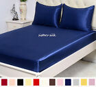 """3 pcs 19MM Seamless 100% Silk Fitted Sheet Pillowcases Set 16"""" Pocket All Size"""