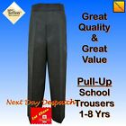 New Boys School Trousers Pull Up Grey 1 2 3 4 5 6 7 8