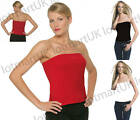 New Ladies Boob Tube Strapless Womens Tops UK Sz 6-16