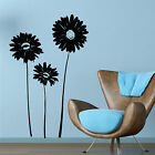 3 Large Daisies Vinyl Wall Art Stickers, Decals 025