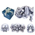 Mens Gothic Skull Head Ring in Size 6 7 8 9 w/Gift Box
