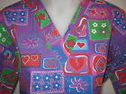 S M L XL HEARTS & FLOWERS WHITE GREEN  PURPLE RED BLUE V NECK SCRUB TOP