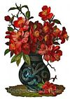 Red Flowers Ornamental Vase Quilting Multi Sizes