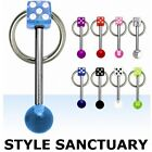 Slave Barbell Door Knocker Tongue Nipple Bar Ring Dice