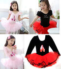 Girl Party Long&Short Sleeve Leotard Ballet Tutu Dance Shoes Costume Dress 3-8Y