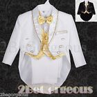 5pc Formal Tuxedo Tail Suit Wedding Page boy Christening Baptism Baby 6-24m #015