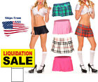 Naughty School Girl Stretch Solid Color Plaid Pleated Mini Skirt Lingerie S/M/L