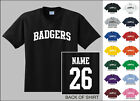 Badgers College Letters Custom Name & Number Personalized T-shirt