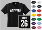 Raptors College Letters Custom Name & Number Personalized Basketball T-shirt