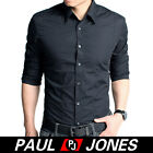 Business Men's slim fit dress shirts longsleeve cotton comfort tops hot 3colrs