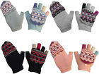 G40 LADIES RETRO FUNKY MULTI COLOUR WOOL MIX COMBO MITTEN FINGERLESS GLOVE 4cols