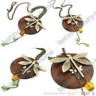 Fashion Women's Wood Dragonfly chain Necklaces pendant
