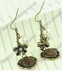 Fashion 1 Pair Cat's Eye Glass Crystal Bronze Flower Earring Jewelry Making