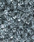 50pcs cube silver alphabet single letter beads A-Z 6mm