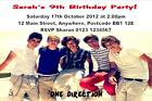 10 Personalised One Direction, Justin Bieber, The Wanted Invitations