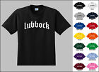 City of Lubbock Old English Font Vintage Style Letters T-shirt