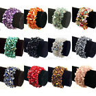 WIDE GEMSTONE Crystal Chip Beaded Stretch Gift Charm Reiki Healing BRACELETS