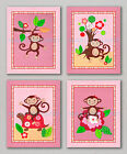 MISS MONKEY PRINTS Baby Girl Pink Nursery Bedding Art Wall Decor Turtle Flowers