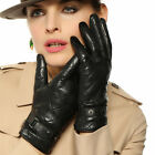 Fashion Women's Italian nappa leather gloves w/ plaid stitching buckle faster