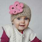 Melondipity Girl Brown Crochet Beanie Baby Hat with Pink Flower Knit