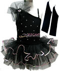 Black Sexy Flower Girl Fairy Costume Dress Ballet Leotard Tutu Party Skirt 1-9Y