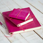 Fair Trade Handmade Eco Friendly Fuschia Embossed Leather Journal Diary