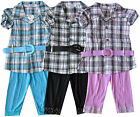 Girls New Check Shirt With Belt And Lace Legging Set Ages 2 Years - 10 Years