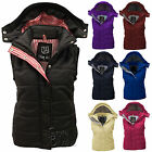 LADIES WOMEN GILET SLEEVELESS HOODED NEW QUILTED VEST BODYWARMER TOP SIZE 8-20