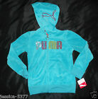 Puma Blue Velour Zip Hooded Jacket Girls NWT Size 6X