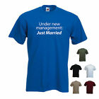 'Under new management, Just Married' Funny mens Marriage / Wedding T-shirt.