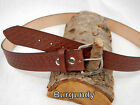 "Barsony Heavy Duty Genuine Burgundy Leather Basket Weave Belt 1.5"" Size 57-58"