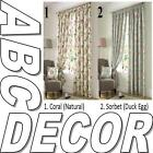 Apsley Vintage Chic Style Floral Pencil Pleat Lined curtains Coral or Sorbet