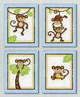 MONKEY TIME Art Prints BLUE Nursery Bedding Baby Boy Wall Decor JUNGLE ANIMAL
